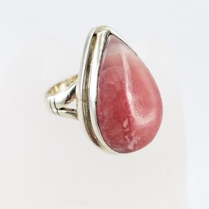 Artisan statement ring pink stone 925 silver